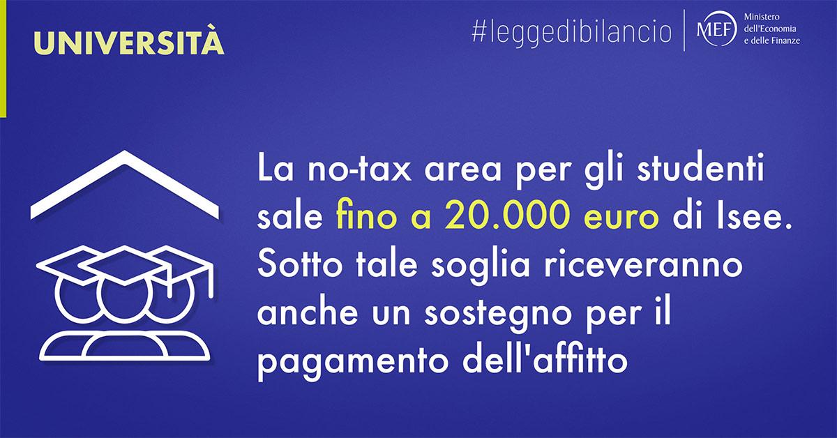 Università: la no-tax area per gli studenti sale fino a 20.000 euro di Isee. Sotto tale soglia riceveranno anche un sostegno per il pagamneto dell'affitto